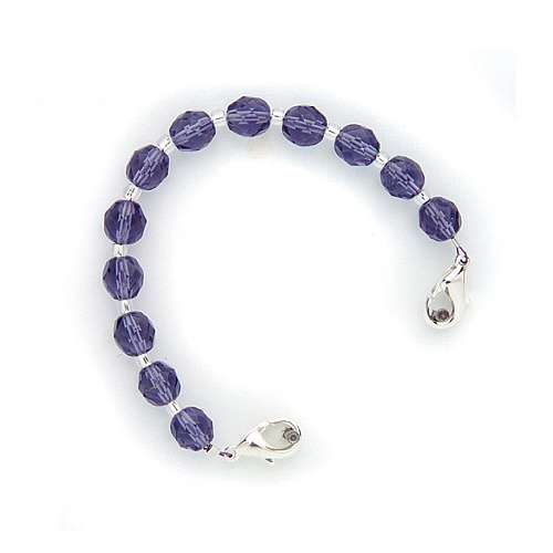 Purple Crystal Beaded Medical ID Bracelet