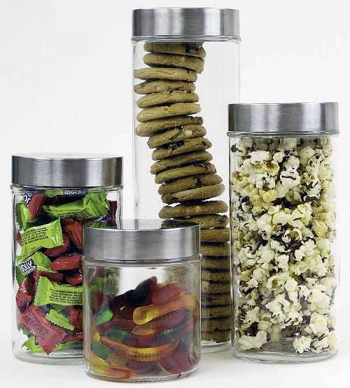 4 Piece Glass Canister Set with Airtight Stainless Steel Lids