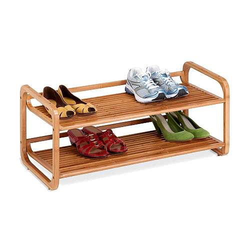 2 Tier Stackable Bamboo Shoe Shelf
