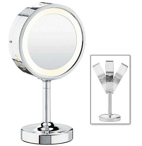 Chrome Double-Sided Round Mirror